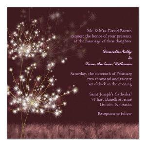 Glowing Twilight Dandelion Fall Wedding Invites 5.25