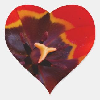 Glowing ultra-red tulip heart sticker