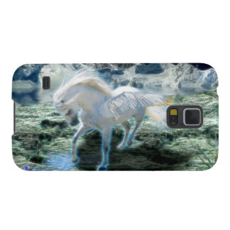 Glowing White Pegasus & Mountains Fantasy Art Galaxy S5 Covers