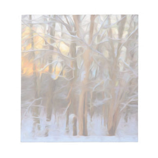 Glowing Winter Sunset Painting Notepad