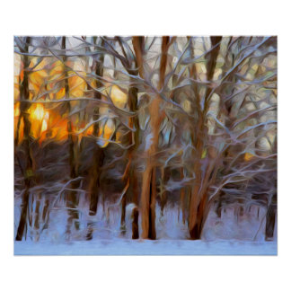 Glowing Winter Sunset Painting Poster