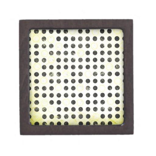 GLOWING YELLOW BLACK CIRCLES POLKADOTS GRUNGE POLK PREMIUM GIFT BOXES