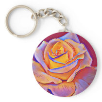 Glowing Yellow Rose Abstract Flower art Keychain