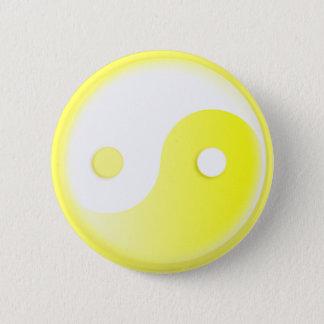 Glowing Yellow Yin/Yang Symbol Pinback Button