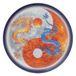 Glowing Yin & Yang Dragons Designer Plate