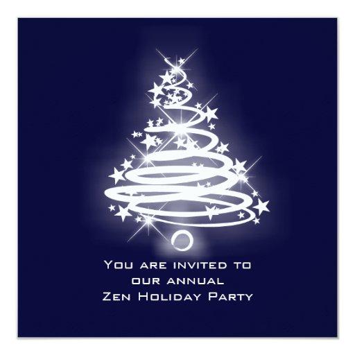 Glowing Zen Christmas Tree Custom Invitation