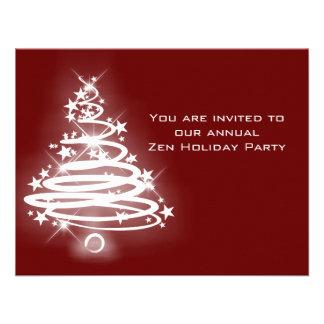 Glowing Zen Christmas Tree Custom Invitations