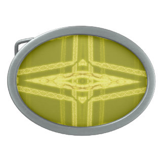 Glowy Eye - Weird Yellow Abstract Oval Belt Buckle