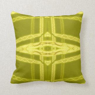 Glowy Eye - Weird Yellow Abstract Throw Pillows