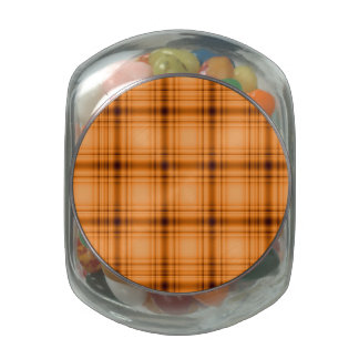 Glowy Look Copper Brown Plaid Print Jelly Belly Candy Jars