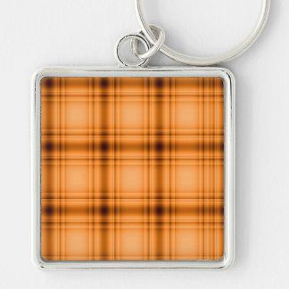 Glowy Look Copper Brown Plaid Print Keychain