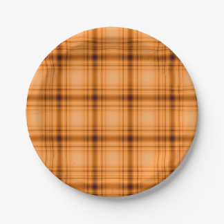 Glowy Look Copper Brown Plaid Print Paper Plate