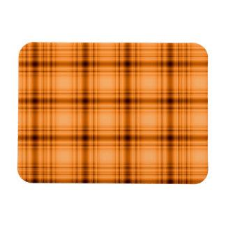 Glowy Look Copper Brown Plaid Print Rectangular Photo Magnet
