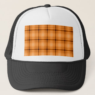 Glowy Look Copper Brown Plaid Print Trucker Hat