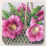 Gloxinia and Ferns in Basket Vintage Victorian Beverage Coasters