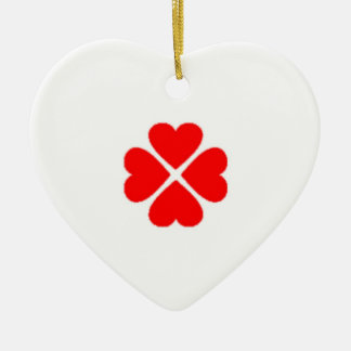 glücksbringer clover sheets heart sweet heart red  ceramic ornament