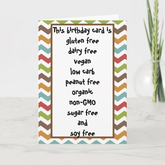 Gluten Dairy Sugar Soy Carb Free Funny Birthday Card Zazzle