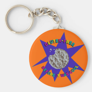 """Gluten-Free Before it was Cool"" Retro '80s-'90s Basic Round Button Keychain"