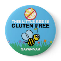 Gluten Free Bumblebee Button for Celiac Alert