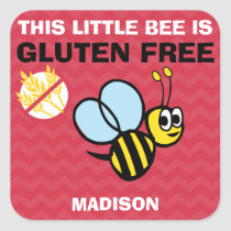 Gluten Free Bumblebee Celiac Red Stickers