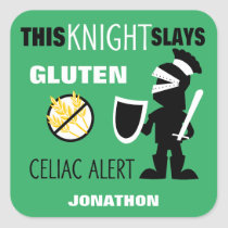 Gluten Free Celiac Alert Green Knight Kids Square Sticker