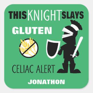 Gluten Free Celiac Alert Green Knight Kids Square Sticker