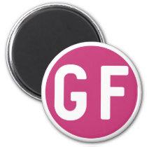 Gluten Free GF Circle Magenta and White Magnet