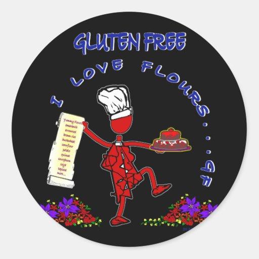 Gluten Free I Love Flours Classic Round Sticker