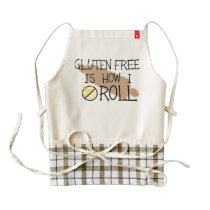 Gluten Free Is How I Roll Celiac Chef Zazzle HEART Apron