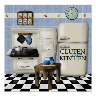 Gluten Free Kitchen Poster - Blue