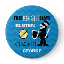 Gluten Free Knight Blue Chevron Stripe Button
