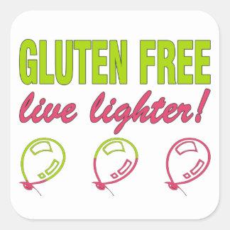 Gluten Free Live Lighter! Gluten Allergy Celiac Square Sticker
