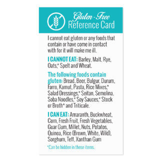 Gluten-Free Reference Card Double-Sided Standard Business Cards (Pack Of 100)