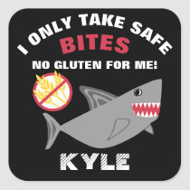 Gluten Free Shark I Take Safe Bites Kids Square Sticker