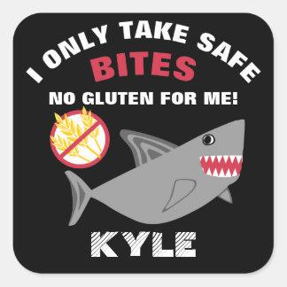 Gluten Free Shark I Take Safe Bites Kids Square Sticker