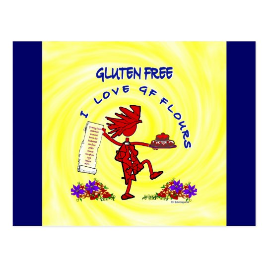 Gluten-Free Whimsical Design Postcard