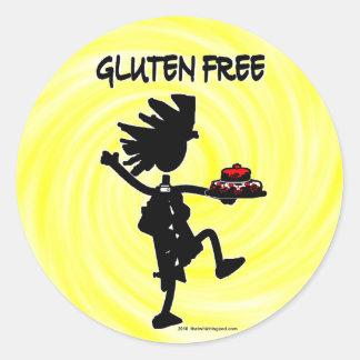 Gluten-Free Whimsy Silhouette Design Classic Round Sticker