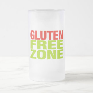 Gluten Free Zone (celiac disease) Frosted Glass Beer Mug