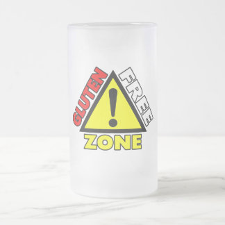 Gluten Free Zone (celiac disease - wheat allergy) Frosted Glass Beer Mug