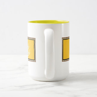 Gluten Free'D - Yellow Logo with Brown Frame Two-Tone Coffee Mug