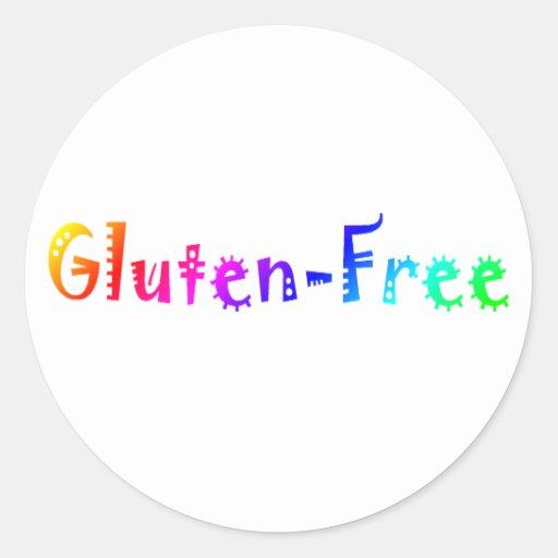 Gluten libre (brillante) pegatina redonda