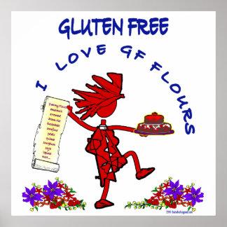 Gluten-Libre - diseño de la harina del amor GF de Póster