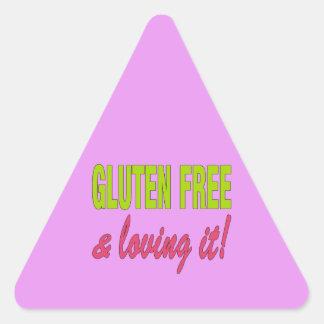 ¡Gluten libre y que lo ama! Enfermedad celiaca Pegatina Triangular