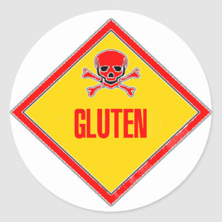 Gluten Poison Warning Classic Round Sticker