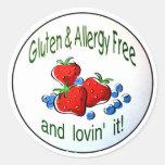 """""""Gluten y alergia libres…"""" Pegatinas Pegatina Redonda"""