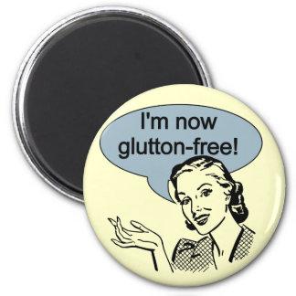 Glutton de dieta chistoso libremente imán redondo 5 cm