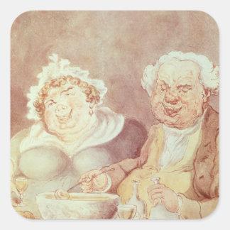 Gluttons, c.1800-05 square sticker