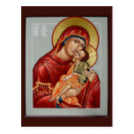 Glykophilousa Mother of God Prayer Card Post Cards