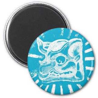glyph maya (azul) imán redondo 5 cm