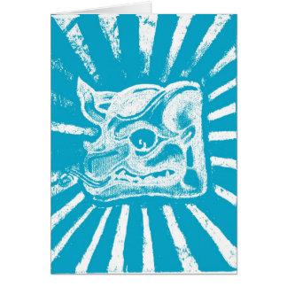 glyph maya (azul) tarjeta de felicitación